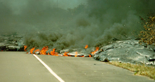 Lava Flowing Over Road - Big Island if Hawaii, pele, goddess, earth mysteries, dolphin, kilauea